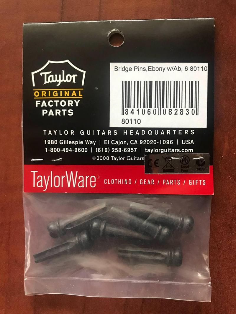 Taylor 80110 Acoustic Guitar Bridge Pins Ebony Abalone Guitar Mania