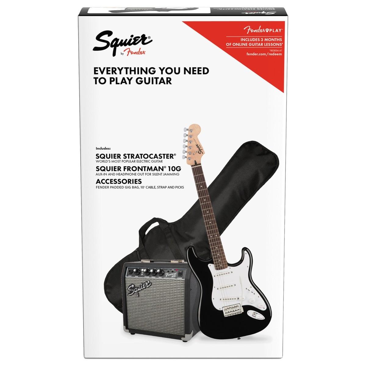 squier beginners electric guitar starter pack black fender 10g amp gig bag guitar mania. Black Bedroom Furniture Sets. Home Design Ideas